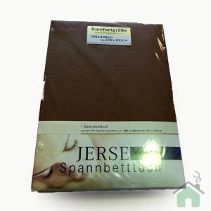 Lenzuola con angoli in maglina di cotone estensibile jersey fino a 200 x 200 cacao