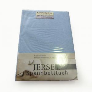 Lenzuola con angoli in maglina di cotone estensibile jersey fino a 200 x 200 azzurro