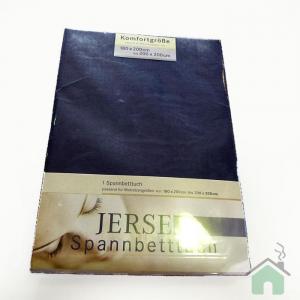 Lenzuola con angoli in maglina di cotone estensibile jersey fino a 200 x 200 blu