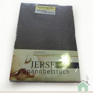 Lenzuola con angoli in maglina di cotone estensibile jersey fino a 200 x 200 grigio b