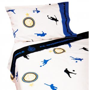 Lenzuola Inter ORIGINALI nero azzurro per letto singolo 150x280 puro cotone