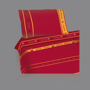 Set lenzuola Roma sui toni del rosso e giallo per letto singolo