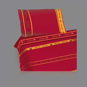 Set lenzuola Roma sui toni del giallo e del rosso per letto piazza e mezza 2016