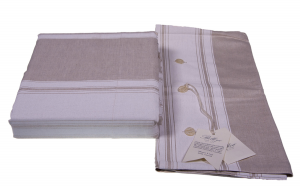 Set lenzuola Misto lino BELLORA LUCAS per letto matrimoniale disegno righe classico