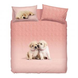 Set Copripiumino Bassetti letto matrimoniale soft dog rosa