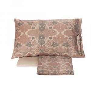 FAZZINI completo lenzuola Maxi matrimoniale raso puro cotone con sotto SAKURA rosa