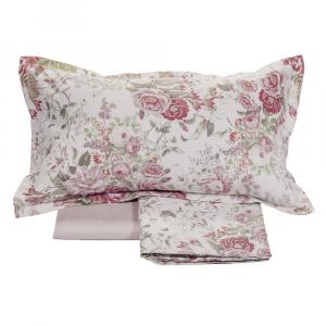 FAZZINI completo lenzuola Maxi matrimoniale ISOTTA raso di puro cotone rosa