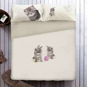 SET COPRIPIUMINO GABEL MATRIMONIALE gattini con gomitolo