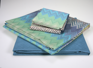 Missoni Home sheets complete bed SEBASTIAN zig zag Turquoise