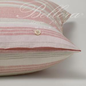 Bellora Set Lenzuola FUSION in lino, colore corallo, rigato 100% LINO