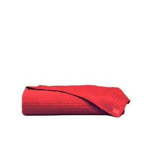 LA PERLA Copriletto CLEOPATRA Raso di puro cotone unito ricamato rosso
