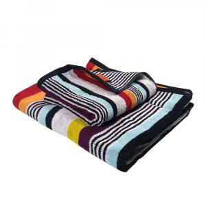 Missoni set bagno asciugamano e ospite KEN a righe multicolore