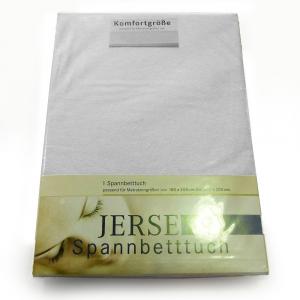 Lenzuola di cotone con angoli singole Jersey di maglina - bianco