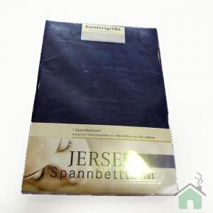 Lenzuola di cotone con angoli singole Jersey di maglina - blu notte