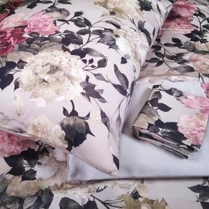 Set lenzuola matrimoniale candotex in raso di cotone a fiori rosa su fondo tortora 233