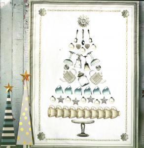 Tovaglia Natale rettangolare 8 persone 145x230 cm Tazze e bicchieri raso