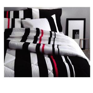Set lenzuola percalle SOMMA per letto matrimoniale PARALLEL 250x290 bianco nero