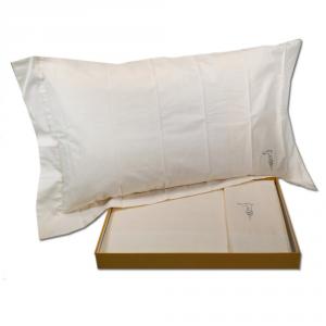 Set lenzuola matrimoniale Trussardi QUICK STRASS bianco in raso di puro cotone