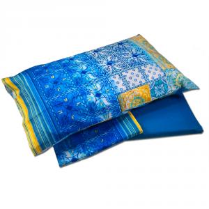 Bed sheets Granfoulard Bassetti double 2 squares VIETRI 3 blue