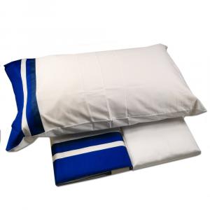 FAZZINI completo lenzuola Maxi matrimoniale KUBRIC blu raso di cotone