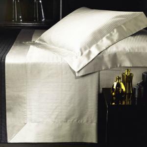 Set lenzuola matrimoniale AURORA in raso di puro cotone a righe panna