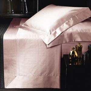 Set lenzuola matrimoniale AURORA in raso di puro cotone a righe rosa