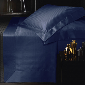 Set lenzuola matrimoniale AURORA in raso di puro cotone a righe blu