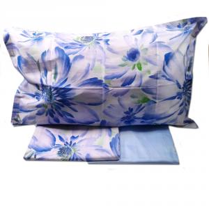 Set lenzuola matrimoniale CASSERA raso di puro cotone floreale SAMAR blu