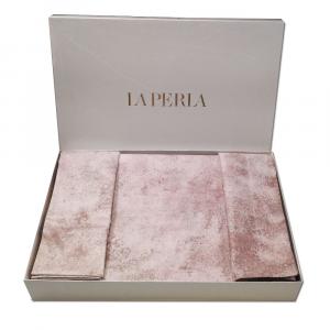 LA PERLA set copripiumino matrimoniale VERMEER Raso di puro rosa poudrè
