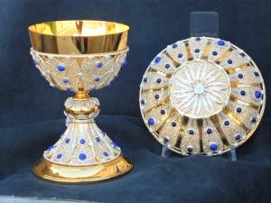 Ostensorio rivestito in filigrana d'argento e lapislazzuli