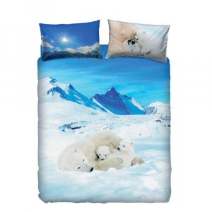 Set copripiumino letto piazza e mezza BASSETTI BEARS IN THE SNOW azzurro