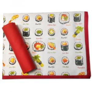Tovaglia x 12 persone con tovaglioli 150x270 cm VALLESUSA Sushi puro cotone