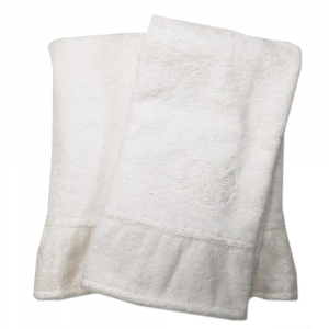 Coppia di asciugamani set 1+1 TWINSET Cherie in spugna di puro cotone bianco