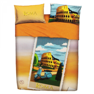 Set lenzuola matrimoniale 2 piazze BASSETTI ROMA stampa digitale