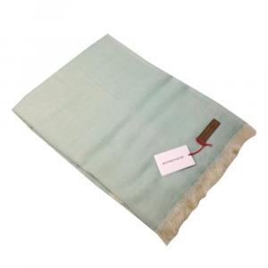 Plaid con frange Borbonese pura lana vergine 140x180 cm PRETTY menta