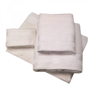 Set 5 asciugamani- 2 asciugamani+2 ospiti+1 telo Borbonese HERITAGE bianco