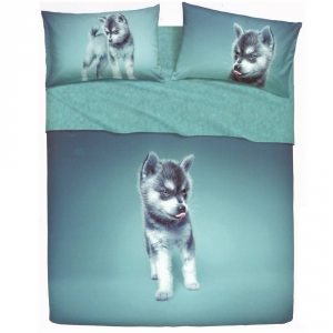 Set double bed sheets 2 squares BASSETTI HUSKY effect bedspread