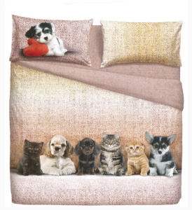 Set double sheets 2 squares BASSETTI DOGS & CATS effect bedspread