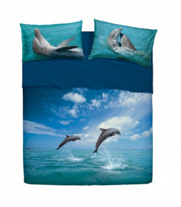 Set double sheets 2 squares BASSETTI DANCING DOLPHIN effect bedspread