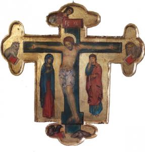 Croce dipinta di Svetlozar Mladenov 48 x 48 cm