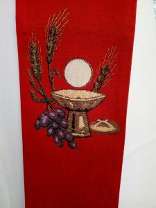 Stola ricamo Eucaristico calice ostia pane spighe e uva