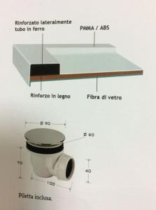 PIATTO DOCCIA SEMICIRCOLARE 90x90 IN RESINA h5,5