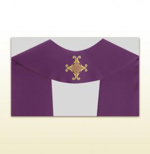 Stola sacerdotale avorio ricamo uva e spighe.