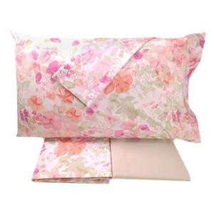 FAZZINI completo lenzuola Maxi matrimoniale LUCILLA percalle floreale rosa