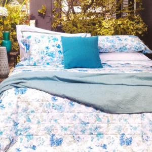 FAZZINI completo lenzuola Maxi matrimoniale LUCILLA percalle floreale azzurro