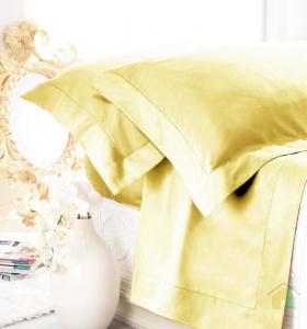 Set lenzuola matrimoniale AURORA in raso di puro cotone a giorno giallo chiaro