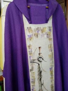 Casula Stolone dipinto a mano  Cristo in croce