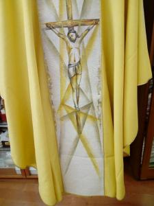 Casula oro Stolone con Cristo  dipinto a mano