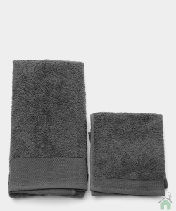 Asciugamani Happidea set 1+1 viso e mani, bagno piscina arredo fumo