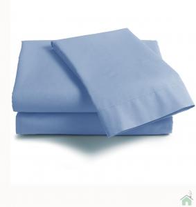 Coppia di federe sfuse in puro cotone tinta unita ISTAR - azzurro